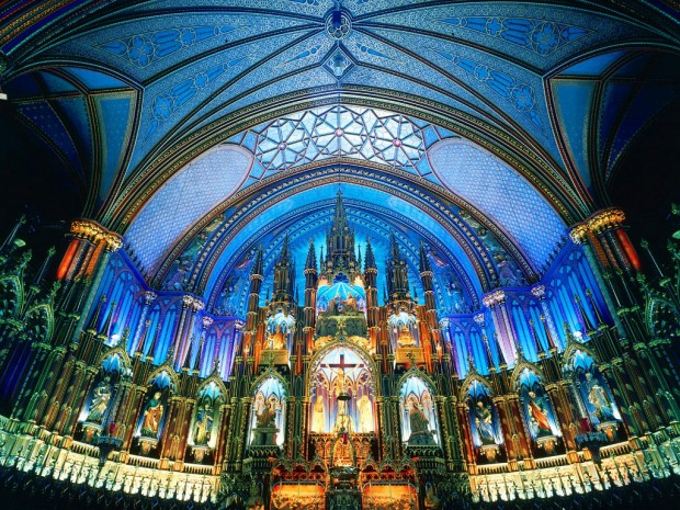 The-interior-of-the-Notre-Dame-Basilica-Montreal