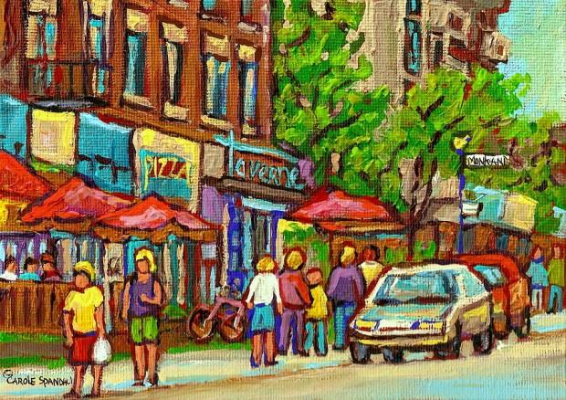 monkland-taverne-monkland-village-paintings-of-montreal-city-scenes-notre-dame-de-grace-cafe-scenes-carole-spandau