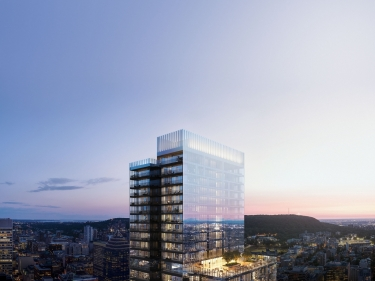 1 Square Phillips - New condos in Quartier des lumières (Montréal) with elevator with pool: 3 bedrooms