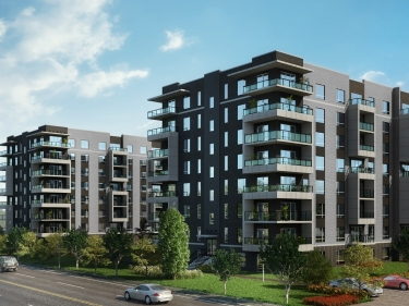 Quartier One West - New condos in Dollard-des-Ormeaux with model units with elevator near a train station with pool